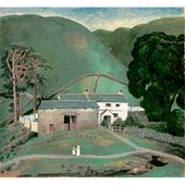 Painting of a house and hill by Dora Carrington