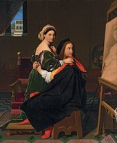 Jean-Auguste-Dominique Ingres, Raphael and the Fornarina 1814, oil on canvas, 64.8 x 53.3 cm