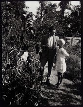 Duncan Grant and Angelica Bell in the garden of Charleston farmhouse in Sussex, 1927 © Tate Archive