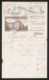 A hotel receipt from the 'Hôtel De L'Univers & Du Portugal' in Paris where Duncan Grant lived for several months in 1906, while studying painting at the art school 'La Palette' © Tate