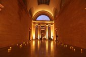 small lights and a lit arch in the duveen gallery