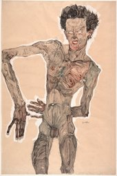 Egon Schiele, Nude Self-Portrait, Grimacing, 1910, gouache, watercolour and pencil on paper, 55.9 x 36.9 cm - Getty Images / Heritage Images / Hulton Fine Art Collection