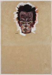 Egon Schiele, Self-portrait, head, 1909, gouache, watercolour and charcoal on paper, 44 x 31 cm - Ömer Koç Collection. Image courtesy Hadiye Cangökçe