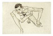 Egon Schiele, Self-Portrait in Crouching Position, 1913, gouache and graphite on paper, 32.3 x 47.5 cm - Courtesy Moderna Museet, Stockholm