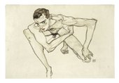 Egon Schiele, Self Portrait in Crouching Position