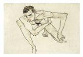 Egon Schiele, Self Portrait in Crouching Position