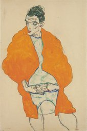 Egon Schiele, Standing male figure (self-portrait), 1914, gouche and graphite on paper, 46 x 30.5 cm - Photo © National Gallery in Prague 2017
