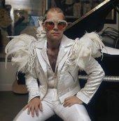 A photograph of Sir Elton John by photographer Terry O'Neill