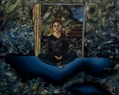 surreal painting of a woman sitting in a doorframe