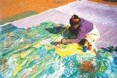 Emily Kame Kngwarreye painting Earth's Creation I in the Utopia region, Central Australia, 1994