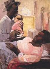 Eva Frankfurther, Couple with Infant, 1956, oil paint on paper, 75 x 56 cm