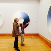 11-year-old Evelyn on a visit to Tate Britain looking at Olafur Eliasson: Turner colour experiments