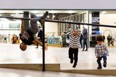 some children play in the turbine hall