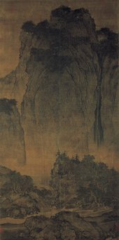 Fan Kuan, Travellers among Mountains and Streams, c1000, ink on silk hanging scroll, 206.3 x 103.3 cm - The Collection of National Palace Museum, Taipei