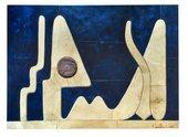 Farid Belkahia, Procession, 1986, dye on skin, 153 × 216 cm - © Fondation Farid Belkahia