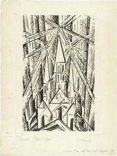 Black and white woodcut print of a cathedral composed of geometric shapes, in a sky composed of fractal lines.
