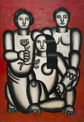 Abstract painting of three women on a red background