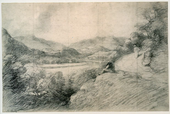 A country scene with grass and bushes in the foreground and fields, trees and hills in the background.