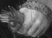 Fig.10 Infrared reflectograph detail of the sitter's left hand, showing underdrawing
