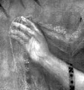 Fig.10 Infrared reflectogram detail of the sitter's right hand