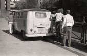 Fig.10 Joseph Beuys (right) with unidentified assistants pushing the Volkswagen camper van used in his work The Pack 1969 (Das Rudel) for Strategy: Get Arts at the Edinburgh College of Art, 1970