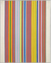 An abstract painting of narrow vertical stripes