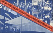 Fig.10 Blue-and-white print reproduction of one of Ed Ruscha's gas station paintings with a woodcut-style image of a Wild West shoot-out and red diagonal strip featuring the exhibition title and details