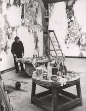 Fig.10 Sam Francis in his Paris studio, c.1958, working on the Basel Mural 1956–8