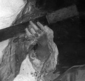 Fig.11 Infrared reflectograph detail of the left hand of the woman in blue