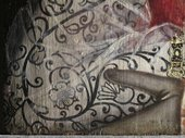 Fig.11 Detail of the sitter's right sleeve in slightly raking light to show the sequential development of the painting