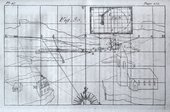 A page showing the outlines of a landscape scene and buildings, with a grid, lines and letters laid over it, and a smaller rectangular grid at the top, right of centre.