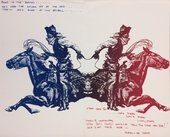 Red and blue print of cowboys on horseback – poster for the exhibition How The West Was Won at Fresno State Art Gallery in 1971