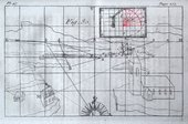 A page showing the outlines of a landscape scene and buildings, with a grid, lines and letters laid over it and a smaller rectangular grid at the top, right of centre.