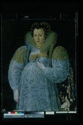 Fig.12 Portrait of an Unknown Lady c.1595 during the removal of old varnish and overpaint