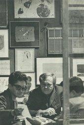 Fig.12 Futagawa Yukio, Photograph taken in Takiguchi Shūzō's study, 1964, with (from left) Tōno Yoshiaki, Sam Francis and Ōoka Makoto, while Takiguchi (not visible in the photograph) reads a poem dedicated to Francis