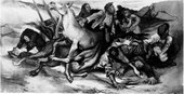 Black-and-white image of a semi-abstract painting featuring a chaotic composition of entangled figures lying or writhing on the ground, with a distressed horse rearing up in their midst, all set in a rocky landscape.
