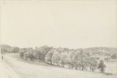 A country scene showing a curving, tree-lined path on the left, a bridge on the right and hills and a building in the background.