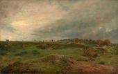A country scene showing grass and bushes in the foreground and figures walking along a path on the horizon.