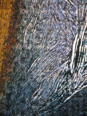 Fig.15 Detail photographed at x8 magnification of the lining of Porter's cloak, showing two types of blue pigment – ultramarine and probably indigo – used as glazes over thick, opaque underpainting