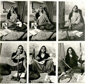 A sequence of six photographs, five of which show a figure in a headscarf posing with various objects, including a staff and an axe, and the sixth showing a different figure posing with the same objects.