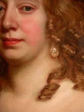 Fig.17 Detail of the older woman's face, showing the muted tones of the first painting or dead colouring allowed to show as the recessive areas of face and neck: the eye sockets, the far side of her neck, the ringlet and the skin immediately around it