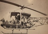 Fig.17 Francis with a news crew in a helicopter over Tokyo Bay before his Sky Painting took place, 1966