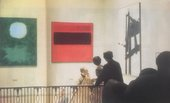 Fig.17 Staircase installation, Tate Gallery, London, 1962, featuring (left to right) Adolph Gottlieb, Green Expanding 1960, Mark Rothko, Black Stripe 1958 and Franz Kline, Light Mechanic 1960
