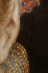 Fig.18 Detail of the sitter's left ear, with the ruff, hair and background paint