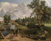 A country scene with figures and a horse in the foreground, large trees on the right and a river on the left that recedes into the distance.