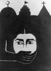 A drawing of face with a hand covering its mouth appears in front of an silhouette of three architectural structures.