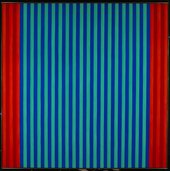 Abstract painting with vertical stripes in reds and blues