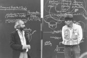 Fig.1 Richard Demarco and Joseph Beuys in front of blackboards from Beuys's action Art = Kapital/Jimmy Boyle Days
