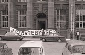 Fig.1 Entrance to the Edinburgh College of Art with the banner for Strategy: Get Arts