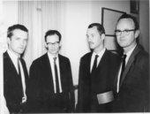 Fig.1 Jan Henderikse, Jan Schoonhoven, Armando and Henk Peeters at the Städtisches Museum, Trier, October 1961